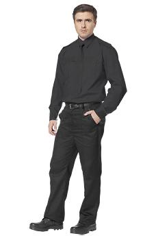 Черная рубашка охранника с длинным рукавом.