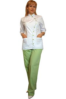 Костюм Японка с салатовой отделкой и салатовыми брюками
