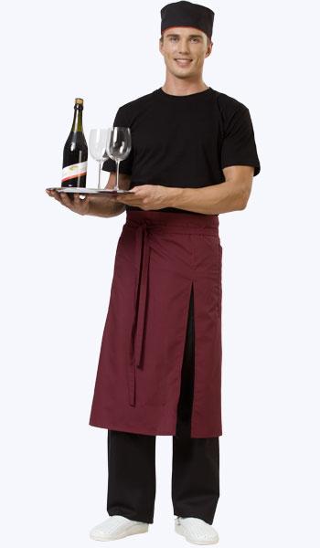 Купить в Самаре бордовый мужской фартук для официантов. Магазин спецодежды.