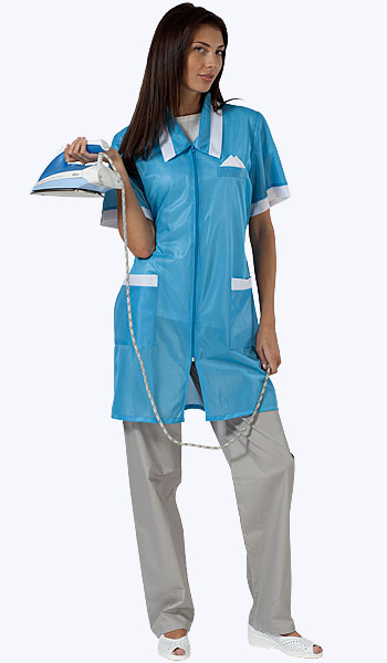 Бирюзовый халат из нейлона с коротким рукавом. Купить в магазинах спецодежды.