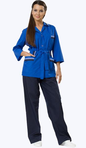 Костюм хозяйственный женский темно-синий с васильковым. Магазины спецодежды.