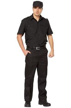Рубашка охранника черная с коротким рукавом.