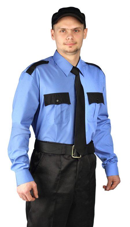 Рубашка мужская Охрана дл. рукав голубая с черным